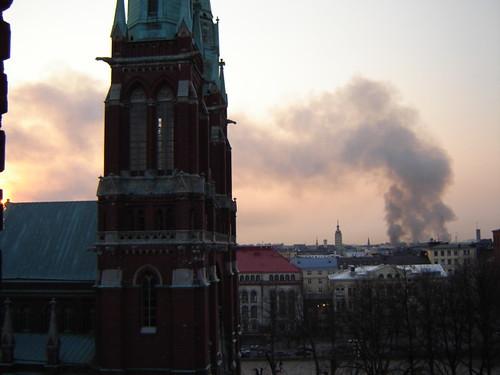 Railway warehouse arson in Helsinki on Friday, May 5th, 2006