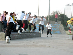 skateboarding--equipment and supplies(0.0), skateboarding(0.0), skateboard(0.0), ice skating(0.0), ice rink(0.0), skating(1.0), roller sport(1.0), sports(1.0), sports equipment(1.0), roller skating(1.0),