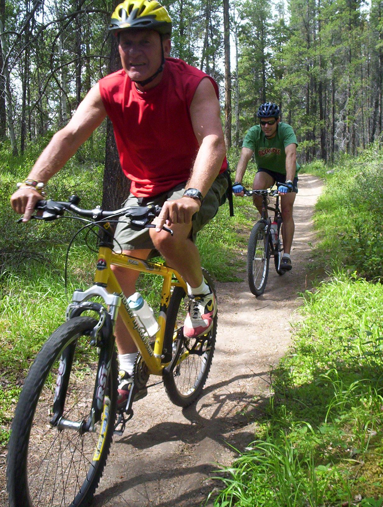 Mountain biking in Jasper National Park.