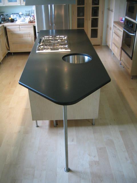 Honed Black Granite Kitchen Counters