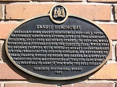 Photo of Ernest Hemingway black plaque