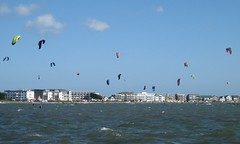 kitesurfers at Sandbanks