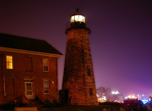 Charlotte Genesee Lighthouse: Charlotte-Genesee Lighthouse At Night