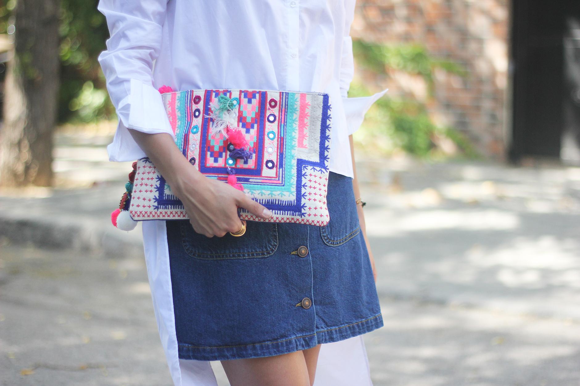 Long Shirt With Denim Skirt Summer Outfit 14
