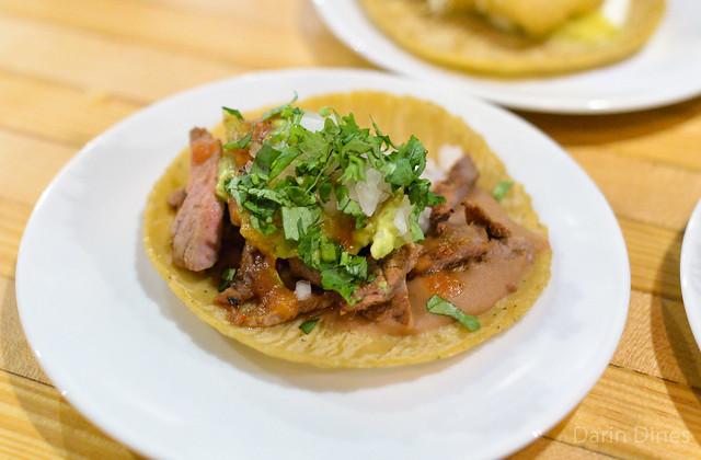 carne asada taco refried beans, guacamole