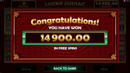 Lucky Zodiac Bonus Feature Win