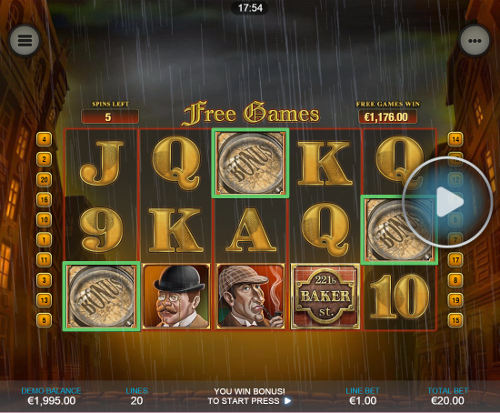 free Sharlock Mystery Mobile slot bonus game