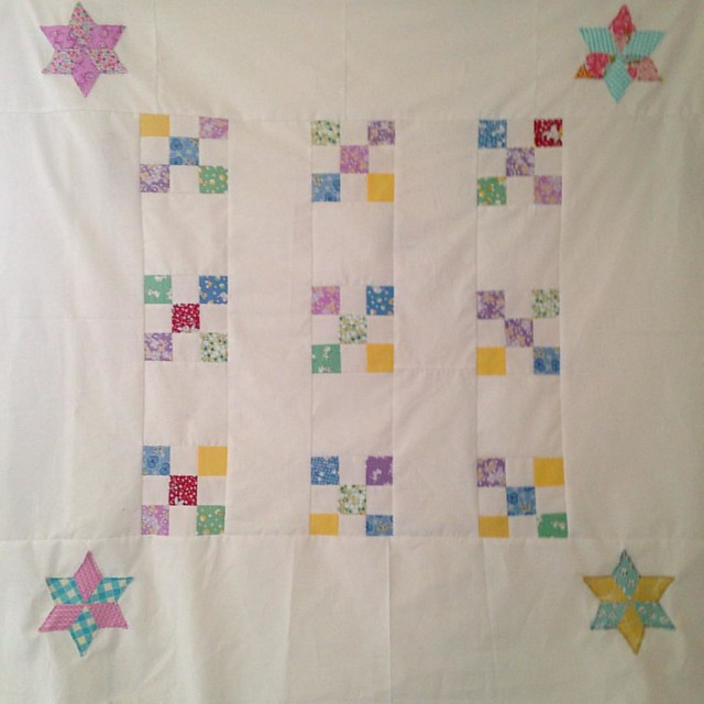 #orphanblockquilttopchallenge for today! I was a little hesitant to use white for a kid's quilt, but it's what I had on hand. Since this project is about using what I have and making it work I went with it! Guess I need to start thinking about quilting th