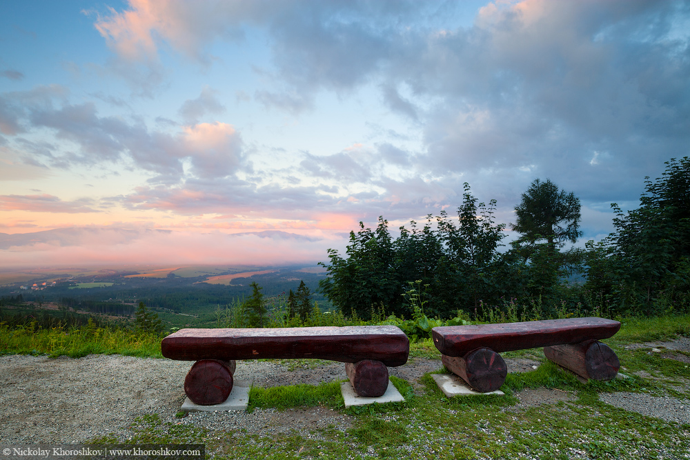 Bench at the mountains