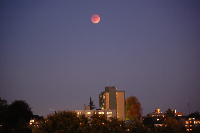 Supermoon in eclipse over Capitol Hill Seattle