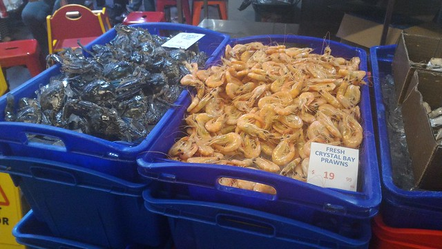 Prawns and crabs at steel street fish market