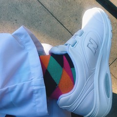 I haven't worn a uniform since high school.   Started volunteering at the hospital this month. Socks are my only currency to show any part of my personality.