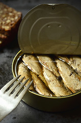 Can with smoked Baltic sprats.