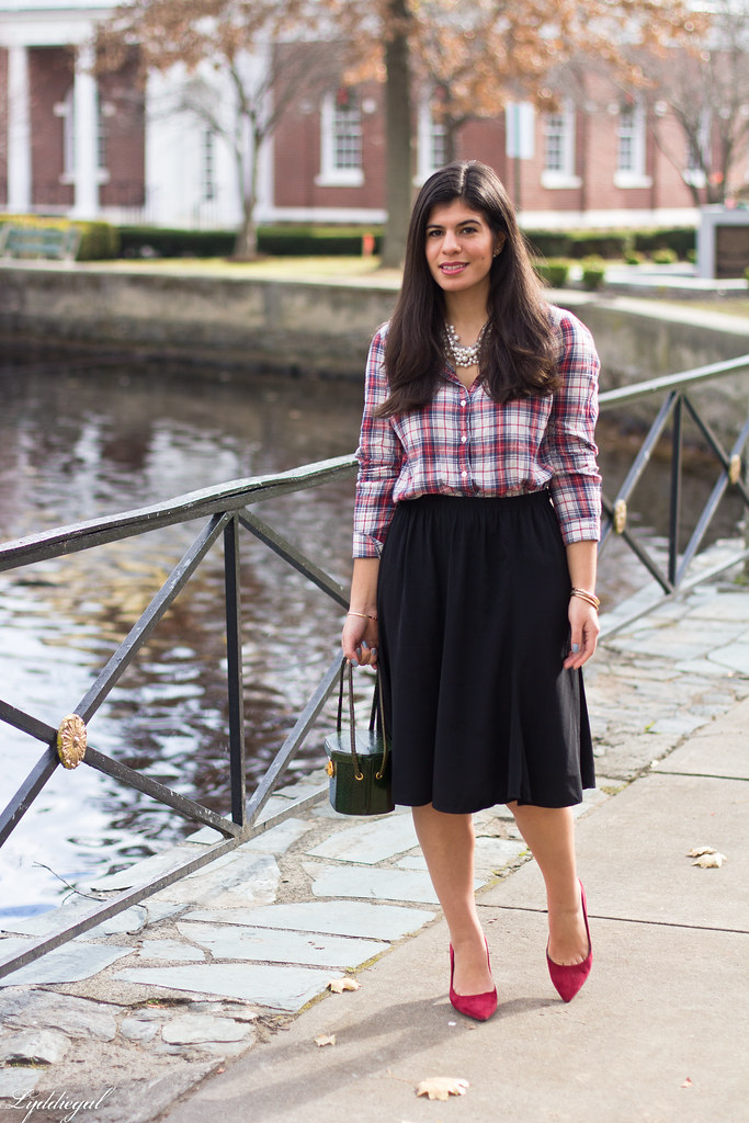 plaid shirt, pearl necklace black midi skirt, red pumps.jpg