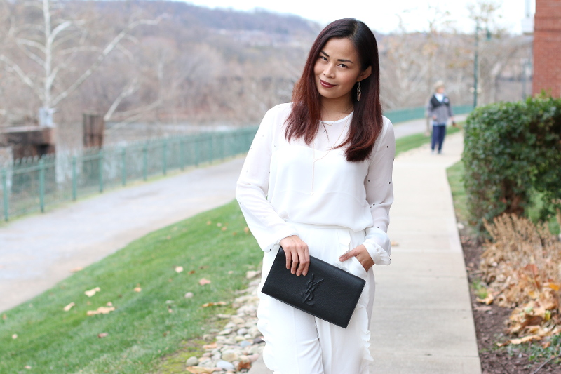 French Connection, Holiday look, white blouse, white trousers
