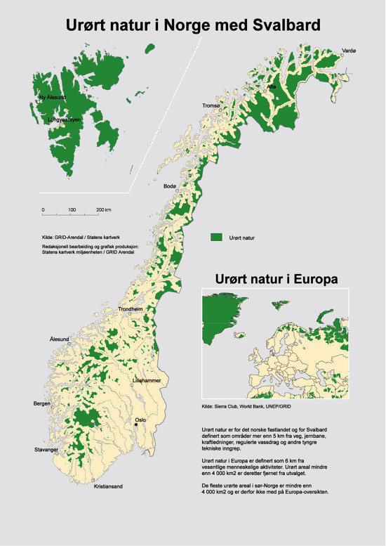 Norway On Europe Map.Wilderness In Norway And Europe Grid Arendal