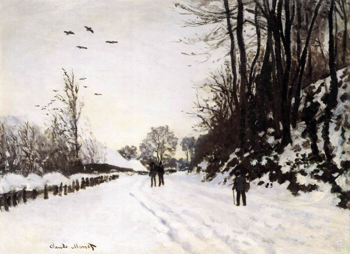 The Road by Saint-Simeon Farm in Winter by Claude Oscar Monet - 1867