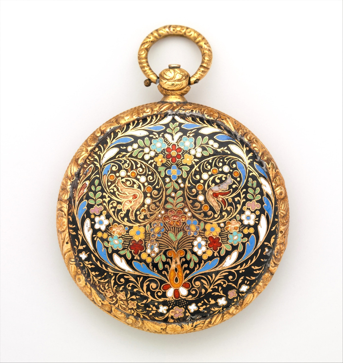 1820. Watch. Swiss, Geneva. Case of gold and enamel, with floral design. metmuseum