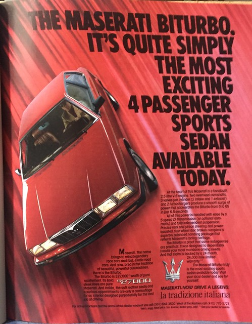 Maserati Biturbo 1985 ad  $27,000 in 1985 cash = about $60,000 today