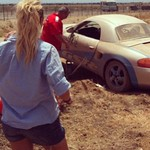 """To achieve anything in this game you must be prepared to dabble in the boundary of disaster.""-#sterlingmoss #racecar #porsche #boxster #crash #blonde #oops"