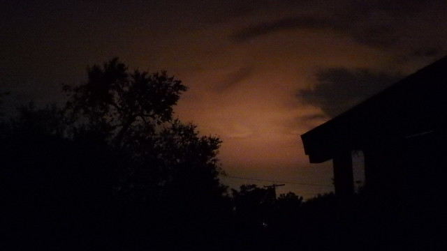 Night sky with an orange glow from light pollution