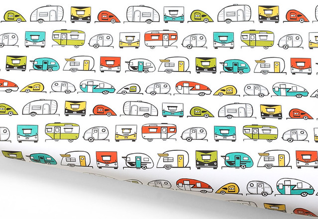 Vintage Trailer Gift Wrap by Vitamini