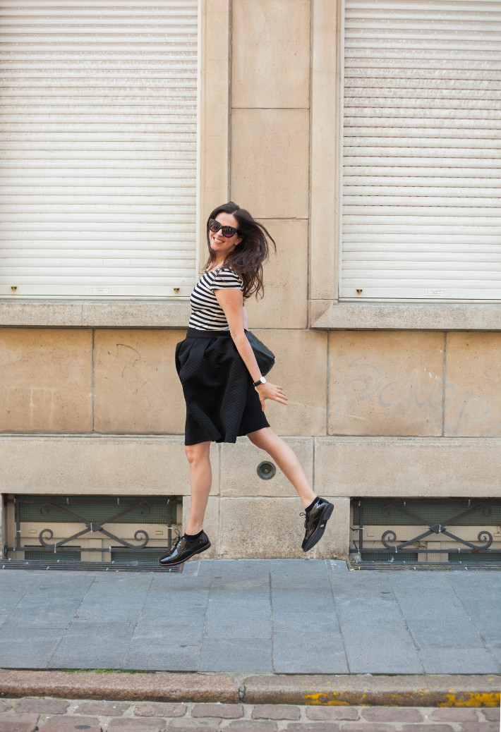 outfit: circle skirt, striped top and patent leather brogues