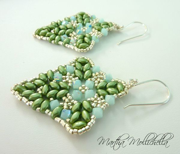 handbeaded earrings with swarovski made in Italy by Martha Mollichella Handmade Jewelry