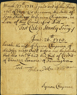 Connecticut July 12, 1709 colonial note back