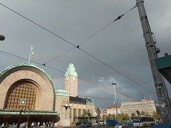 Helsinki Central railway station and double rainbows