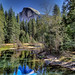 Half Dome, Yosemite National Park over a very dry Merced River. by Randall R. Howard