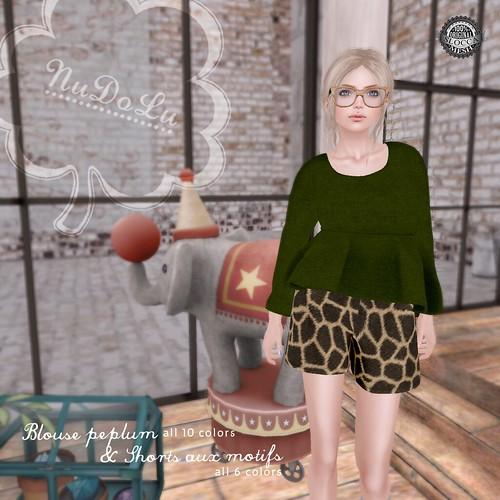 NuDoLu Blouse peplum & Shorts aux motifs AD