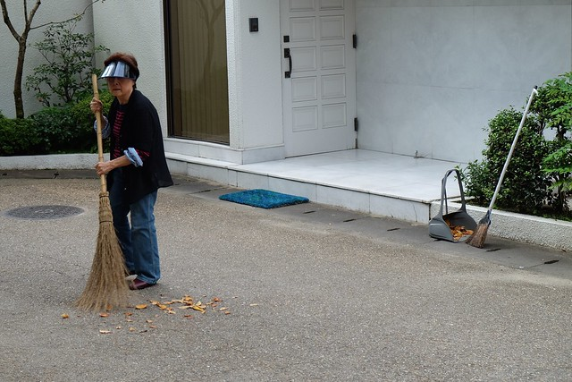 Japanese lady sweeping