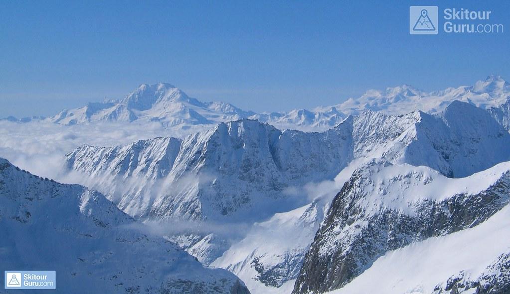 Monte Rosa from Grosser Aletschhorn 4198 m, Oberaletschhütte, Berner Alpen, Wallis, Switzerland, http://skitourguru.com/tura/8-gross-aletschhorn