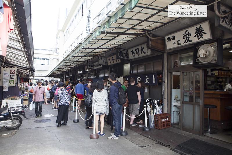 Long sprawling lines to wait for Daiwa Sushi