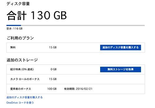 OneDrive ディスク容量