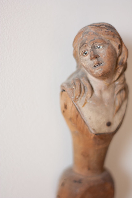 Wonder or terror? Wide eyed female religious figurine