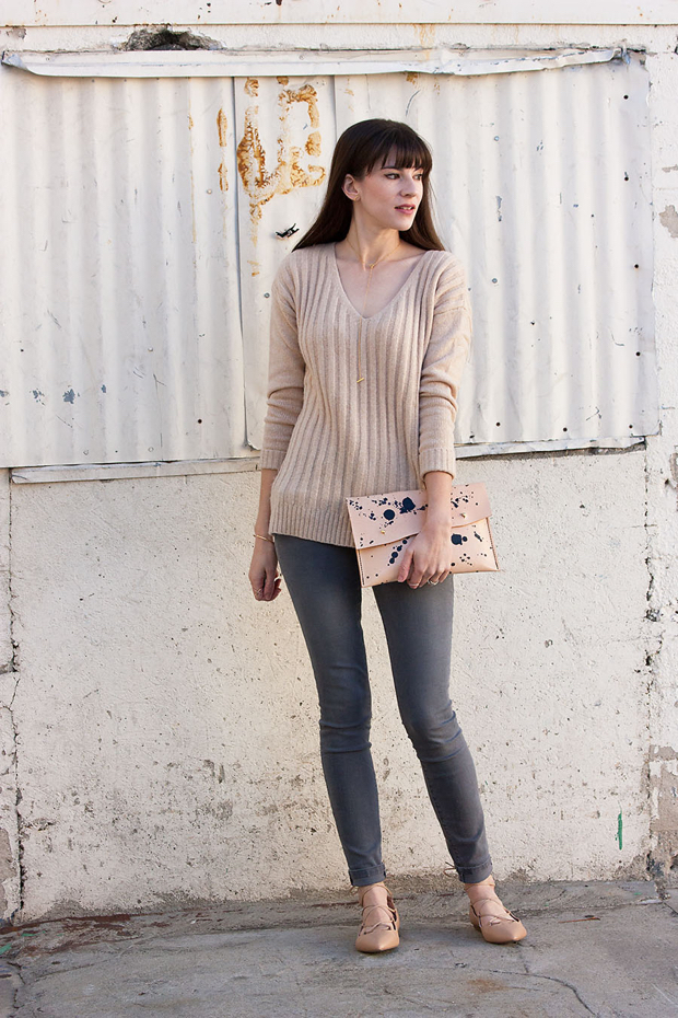 Neutral WInter Outfit, Leather Clutch, Grey Gap Jeans, Gap Flats