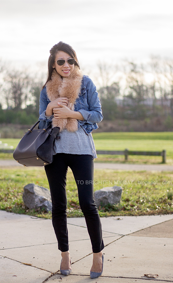 faux fur scarf, denim jacket, gray tee, black pants, gray tote, gray suede pumps
