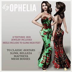 LEGENDAIRE OPHELIA GOWN WITH HEELS AND JEWELRY
