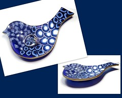 polymer clay Blue Bird Ring Dish