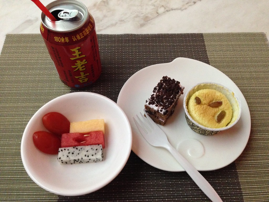 Dessert and fruits