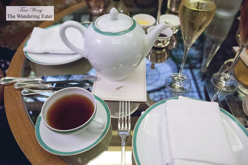 Pur eh Imperial Tea and Veuve Cliquot Brut Champagne