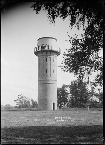 View of the water tower at Cambridge, with a group...