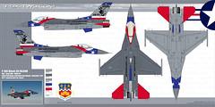 Couleurs et camouflage d'un F-16C du 149th FW de la garde nationale du Texas, 65ème anniversaire.