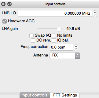 The input controls panel in GQRX