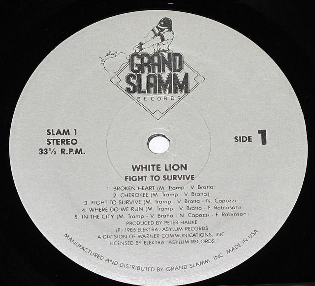 "WHITE LION FIGHT TO SURVIVE GRAND SLAMM 12"" vinyl lp"