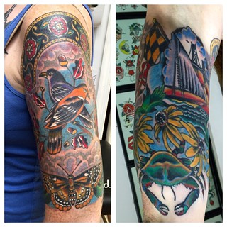 Maryland Tattoo Sleeve by KeelHauled Mike of Black Anchor Tattoo in Denton Maryland