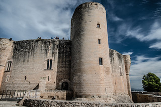 Image of  Bellver Castle. sea castle water clouds sailing harbour sails ibiza sail palma baleares