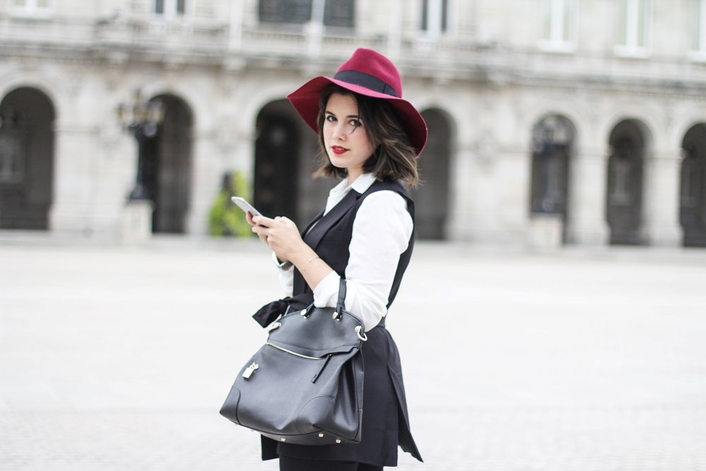 streetstyle myblueberrynightsblog with red fedora and black vest